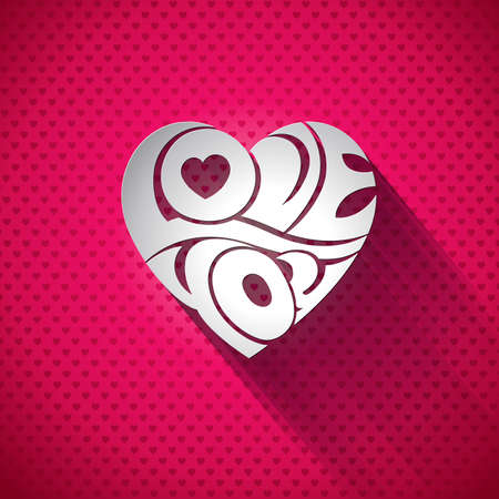 Vector Valentines Day illustration with 3d Love You typography design on heart background.  Vector