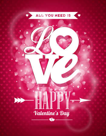 Vector Valentines Day illustration with Love typography design on shiny background. Illustration
