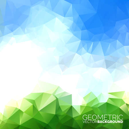 Vector geometric triangles background. Abstract polygonal sky design. EPS 10 illustration. Фото со стока - 39570205