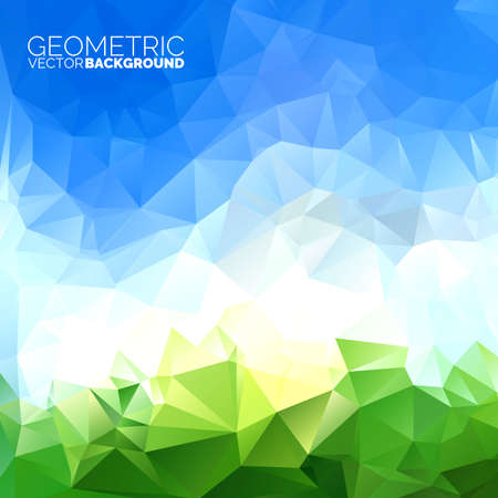 Vector geometric triangles background. Abstract polygonal sky design.  Vector