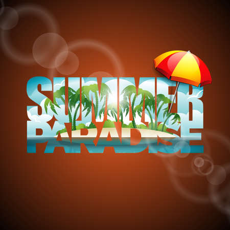 sunshade: illustration on a summer holiday theme with sunshade on seascape background.