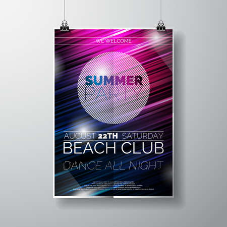 night: Party Flyer poster template on Summer Beach theme with abstract shiny background.