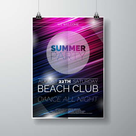 fiesta: Plantilla del cartel del aviador del partido en el tema de la playa del verano con el fondo abstracto brillante.