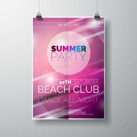 poster art: Party Flyer poster template on Summer Beach theme with abstract shiny background.