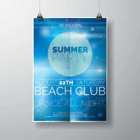 Vector Party Flyer poster template on Summer Beach theme with abstract shiny background. Eps 10 illustration.