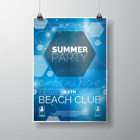 Vector Party Flyer poster template on Summer Beach theme with abstract shiny background. Eps 10 illustration. Zdjęcie Seryjne - 40078605