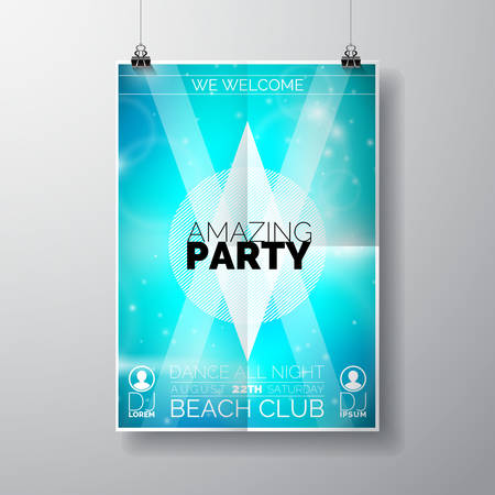 Vector Party Flyer poster sjabloon op Summer Beach thema met abstracte glanzende achtergrond. Eps 10 illustratie.