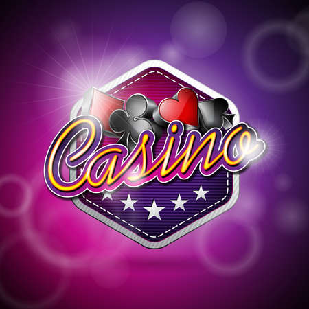 fortune: Vector illustration on a casino theme with poker symbols and shiny texts on abstract background. EPS 10 design
