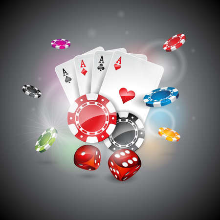 Vector illustration on a casino theme with color playing chips and poker cards on shiny background. Eps 10 design. Çizim