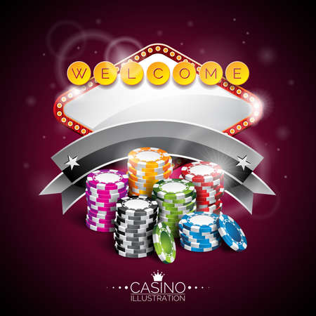 wining: Vector illustration on a casino theme with lighting display and playing chips on purple background. Eps 10 design.