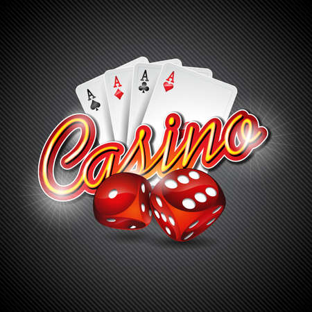 Vector illustratie op een casino thema met dobbelstenen en poker kaarten op een donkere achtergrond. ontwerp. Stock Illustratie
