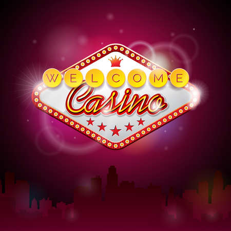 fichas de casino: Ilustraci�n vectorial sobre un tema de casino con pantalla de iluminaci�n y texto de bienvenida en el fondo p�rpura. dise�o. Vectores