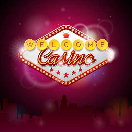 Vector illustratie op een casino thema met verlichting display en welkom tekst op paarse achtergrond. ontwerp. Stock Illustratie