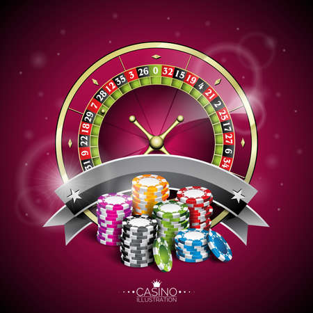Vector illustration on a casino theme with roulette wheel and playing chips on purple background.  design.