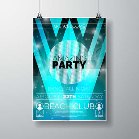 Vector Party Flyer poster template on Summer Beach theme with abstract shiny background. illustration. Vettoriali