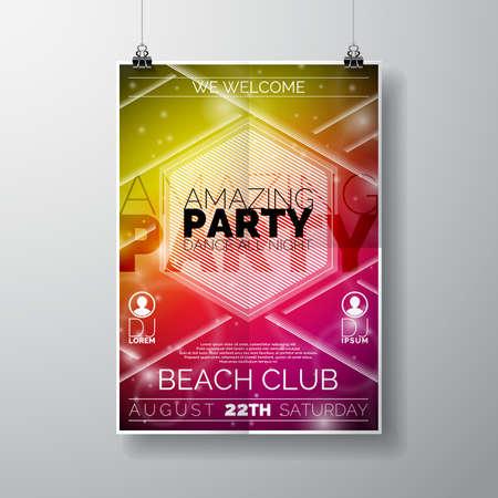 Fiesta: Plantilla del cartel del vector del aviador del partido en el tema de la playa del verano con el fondo abstracto brillante.