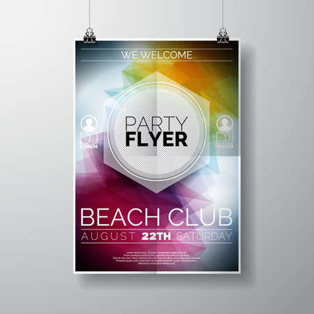 Vector Party Flyer poster template on Summer Beach theme with abstract shiny background. illustration. Иллюстрация