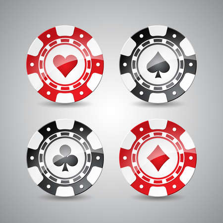 Vector illustration on a casino theme with playing chips set. Eps 10 design.