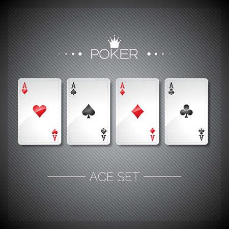Ilustración vectorial sobre un tema de casino, jugar a las cartas de póquer. Poker de ases plantilla de conjunto. diseño.