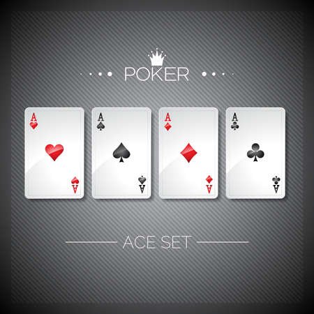 Vector illustration on a casino theme with playing poker cards. Poker aces set template. design.