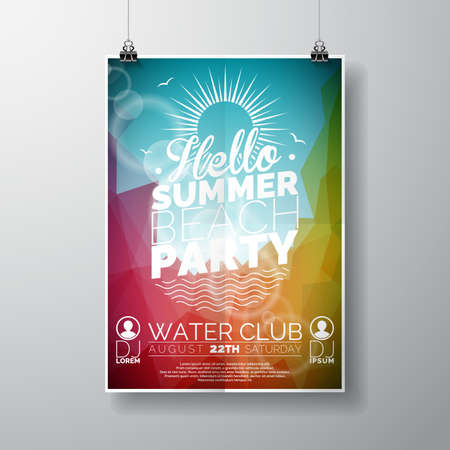 beach party: Vector Party Flyer poster template on Summer Beach theme with abstract shiny background. Eps 10 illustration.