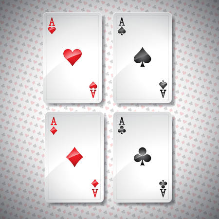 Vector illustration on a casino theme with playing poker cards. Poker aces set template. design. Vector