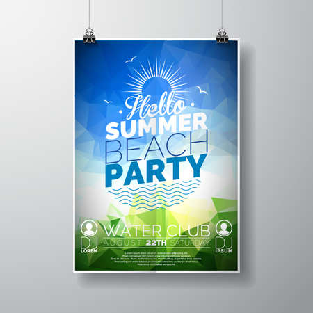 Vector Party Flyer poster sjabloon op Summer Beach thema met abstracte glanzende achtergrond. Eps 10 illustratie.