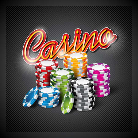 wining: Vector illustration on a casino theme with color playing chips on dark background.