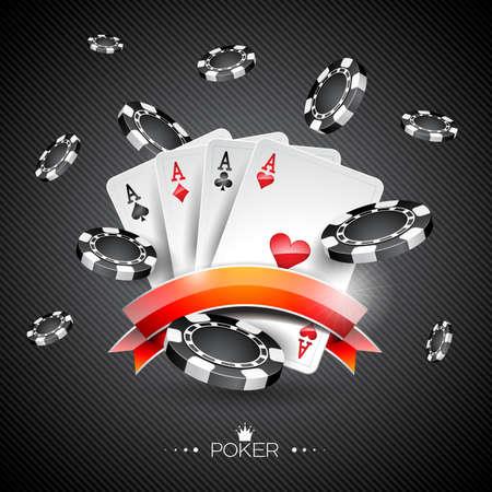 Ilustración vectorial sobre un tema de casino con los símbolos de póquer y cartas de póquer en el fondo oscuro.