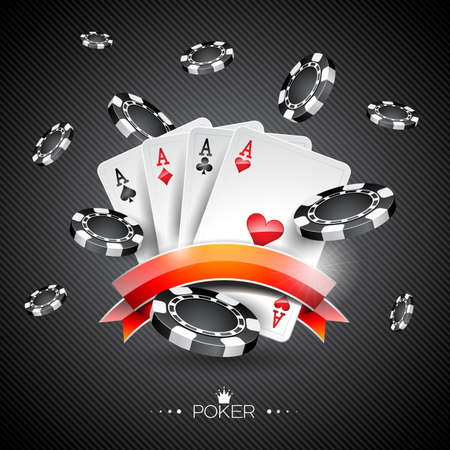 Vector illustration on a casino theme with poker symbols and poker cards on dark background.