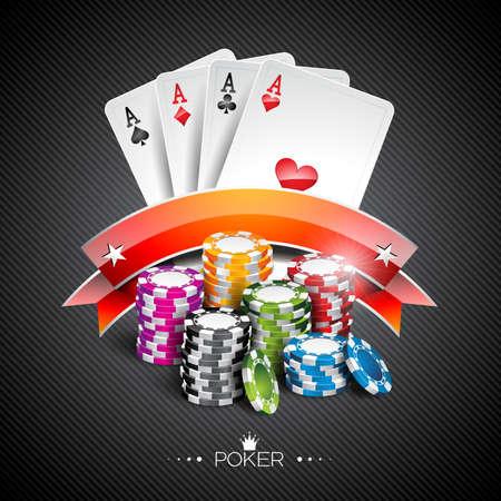 Illustrazione vettoriale su un tema di casinò con chip colore di gioco e carte da poker su sfondo scuro. Vettoriali