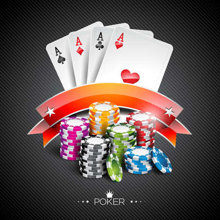 poker game: Vector illustration on a casino theme with color playing chips and poker cards on dark background.