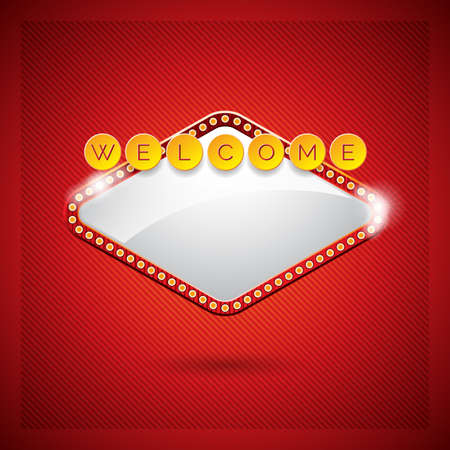 Vector illustration on a casino theme with lighting display and welcome text on red background.