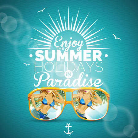 Vector Summer illustration with girl and sunglasses on blue background.