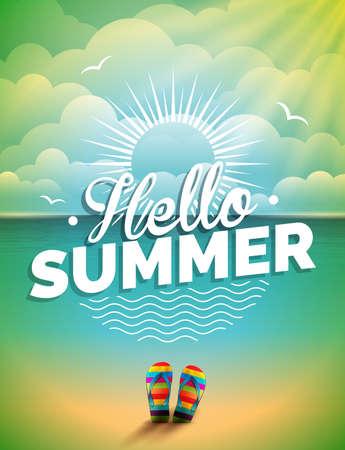 Vector illustratie op een zomervakantie thema op zeegezicht achtergrond.