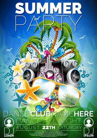 Vector Sommer-Strand-Party-Flyer-Design mit Lautsprechern und Sonnenbrille auf blauem Hintergrund. Eps10. Standard-Bild - 41762139