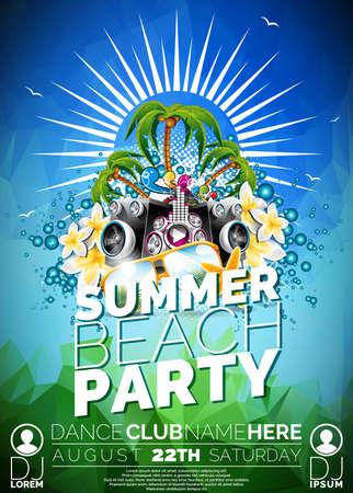 Vector Summer Beach Party Flyer design avec haut-parleurs et des lunettes de soleil sur fond bleu. Eps10 illustration. Banque d'images - 41762140