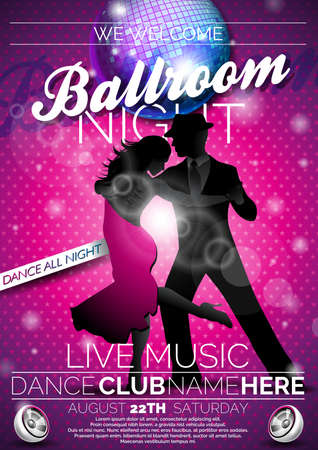 Vector Ballroom Night Party Flyer design with couple dancing tango on dark background. EPS 10 illustration