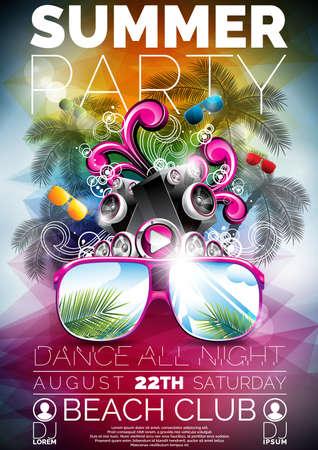 festa: Vector Summer Beach Party Flyer design com alto-falantes e óculos de sol no fundo azul. Ilustração Eps10.