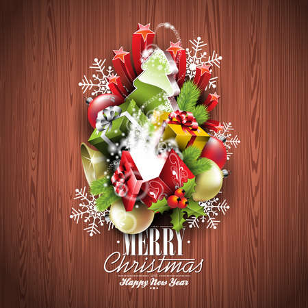 christmas invitation: Merry Christmas and Happy New Year holiday with typographic design elements on wood texture background.