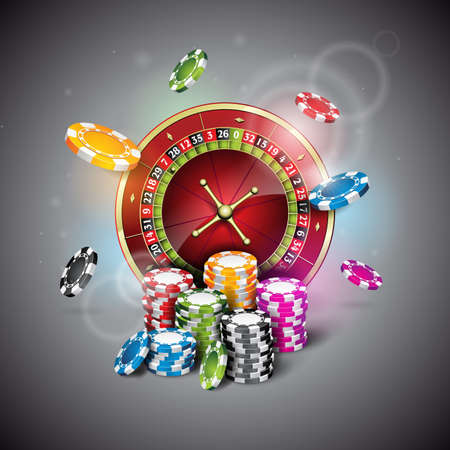 illustration on a casino theme with roulette wheel and playing chips on dark background. Illustration