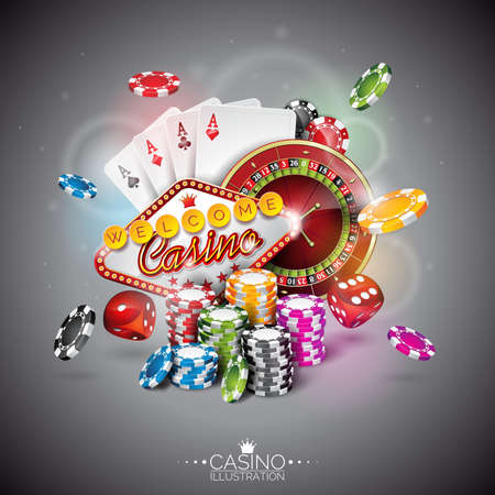 ruleta de casino: Ilustración sobre un tema de casino con fichas de color de juego y cartas de póquer en el fondo oscuro.