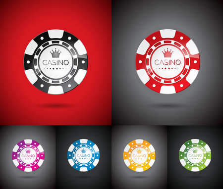 wining: illustration on a casino theme with playing chips set.