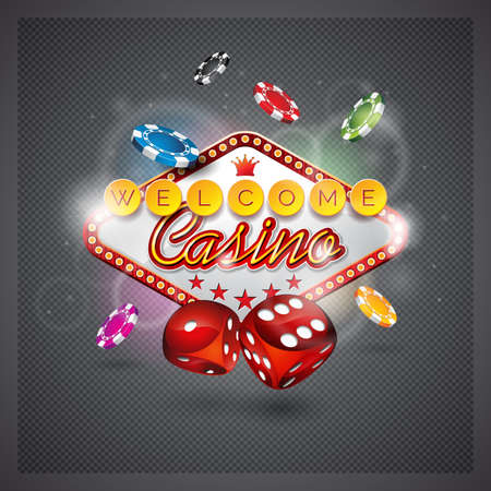 Vector illustration on a casino theme with lighting display and dices on dark background.