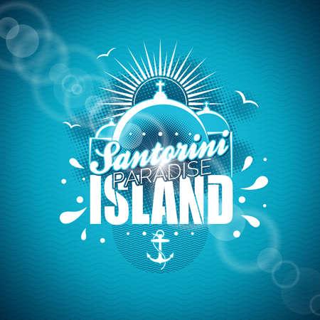 Santorini Paradise Island illustration with typographic design on blue background.