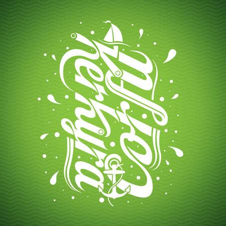 kerkyra: Corfu and Kerkyra illustration with typographic design on green background.