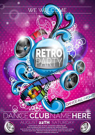 poster designs: Retro Party Design with speakers pink background.