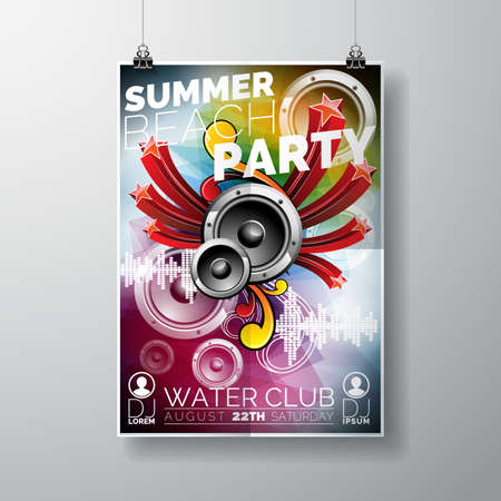 beach party: Summer Beach Party Design with speakers on color background.