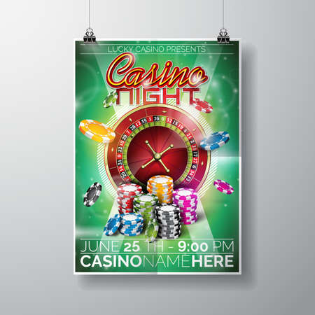 party night: Design on a Casino theme with chips and roulette wheel on green background. Illustration