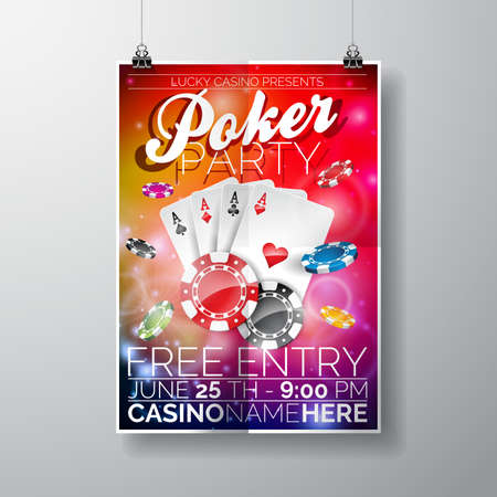 game cards: Design on a Casino theme with chips and game cards on color background.